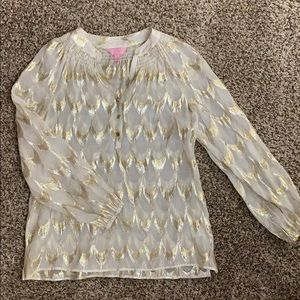 Lilly Pulitzer Tops - Lilly Pulitzer Elsa shimmer silk top